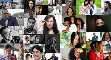 Photo collage of diverse people