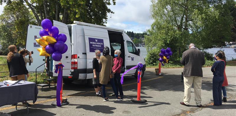 Members of the University of Washington's Health Sciences schools unveiled the new Mobile Health & Outreach Van on Friday, April 30, 2021.